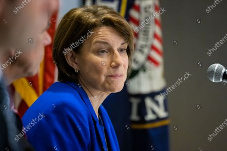 Democratic Senator Amy Klobuchar listens to testimony at a field hearing at the National Center for Civil and Human Rights of the Senate Rules Committee in Atlanta, Georgia on July 19th, 2021.