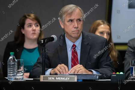 Democratic Senator Jeff Merkley listen to testimony at a field hearing at the National Center for Civil and Human Rights of the Senate Rules Committee in Atlanta, Georgia on July 19th, 2021.