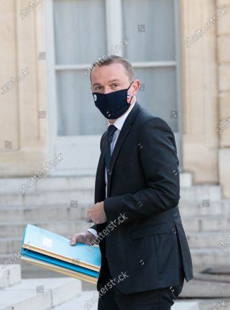 French Junior Minister for Public Administration Olivier Dussopt arrives for the weekly cabinet meeting at Elysee Palace.