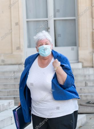 French Minister of Territorial Cohesion and Relations with Local Authorities Minister, Jacqueline Gourault arrives for the weekly cabinet meeting at Elysee Palace.