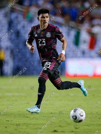 Mexico midfielder Jesus Gallardo (23) attacks during a CONCACAF Group A soccer match against El Salvador, in Dallas. Mexico won 1-0