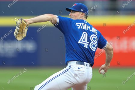 Toronto Blue Jays starting pitcher Ross Stripling (48) throws during the first inning of a baseball game against the Boston Red Sox, in Buffalo, N.Y