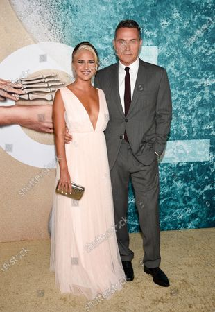 """Stock Image of Actor Rufus Sewell, right, and girlfriend Vivian Benitez attend the world premiere of """"Old"""" at Rose Theater at Jazz at Lincoln Center, in New York"""