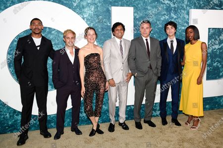 """Actor Aaron Pierre, left, actor Gael Garcia Bernal, actor Vicky Krieps, writer-director-producer M. Night Shyamalan, actor Rufus Sewell, actor Alex Wolff and actor Nikki Amuka-Bird pose together at the world premiere of """"Old"""" at Rose Theater at Jazz at Lincoln Center, in New York"""