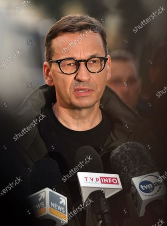 Prime Minister Mateusz Morawiecki speaks during a press conference at the site of a flash flood in Glogoczów. Aftermath of flash flood in Glogoczow near Kraków.