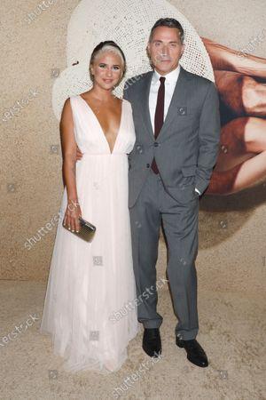 Rufus Sewell (R) and girlfriend Vivian Benitez (L)