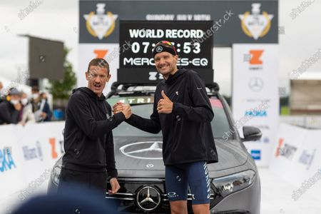 Stock Picture of Jan Frodeno (GER, right) with world record (7:27:53 hours)