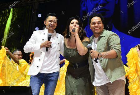 Colombian Singer Jorge Celedon, Paola Fernandez and Damian Torres onstage