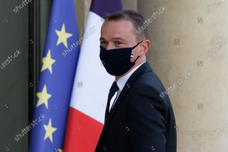 French Junior Minister of Public Action and Accounts Olivier Dussopt  arrives for the meeting of the French Council of Ministers at the Elysee Palace in Paris, on July 19, 2021
