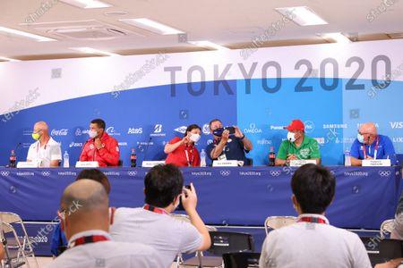 Stock Photo of (L-R) Laing Harrow (AUS), Mark Smith (CAN),  Reika Utsugi head coach (JPN), Ken Eriksen (USA), Carlos Bernaldez (MEX), Federico Pizzolini (ITA) - Softball : Press conference before the Tokyo 2020 Olympic Games  at the Fukushima Azuma Baseball Stadium in Fukushima, Japan.