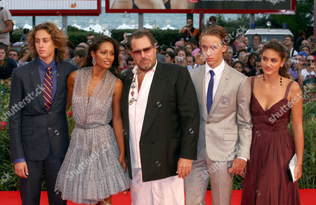 Stock Image of Julian Schnabel, Rula Jebreal, Cy Schnabel and Olmo Schnabel