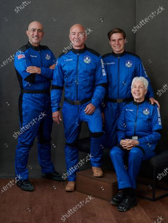 Blue Origin's New Shepard suborbital rocket remains on schedule to launch on its 16th flight to space and its first with astronauts on board on Tuesday, July 20, 2021, from Launch Site One, 160 miles east of El Paso, Texas. Founder Jeff Bezos, second from left, will be accompanied aboard the flight by his brother Mark Bezos, left, 82-year-old aviator Wally Funk, seated, and 18-year-old Oliver Daemen, right, of the Netherlands. Funk and Daemen will become the oldest and youngest people to fly in space, respectively. Daemen will also become the first paying customer Blue Origin will send into space.