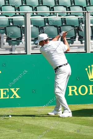 Preparations for the start of The Senior Open Championship (golf) supported by Rolex. Jose Maria Olazabal ex Captain of Europe's Ryder Cup team tee's off in the Pro-Am