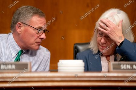 Senator Richard Burr (L) speaks to Senator Patty Murray (R) prior to a Senate Health, Education, Labor, and Pensions Committee hearing at the Dirksen Senate Office Building in Washington, DC, USA, 20 July 2021.