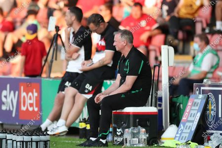 Stoke City Manager Michael O'Neill watches the match during the Pre-Season Friendly match between Crewe Alexandra and Stoke City at Alexandra Stadium, Crewe