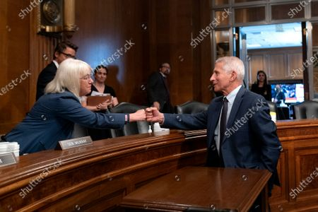 Anthony Fauci, director of the National Institute of Allergy and Infectious Diseases, fist bumps United States Senator Patty Murray (Democrat of Washington), Chairman, US Senate Health, Education, Labor and Pensions Committee following a Senate Health, Education, Labor, and Pensions Committee hearing at the Dirksen Senate Office Building in Washington.