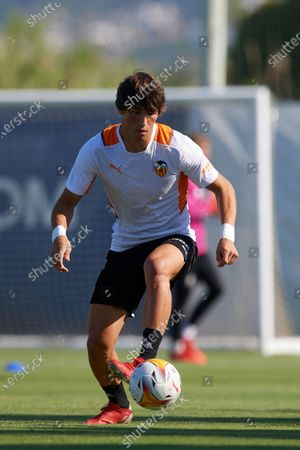 Jesus Vazquez of Valencia during the warm-up before the Pre-Season friendly match between Valencia CF and Villarreal CF at Oliva Nova Beach & Golf Resort on July 16, 2021 in Oliva, Spain.