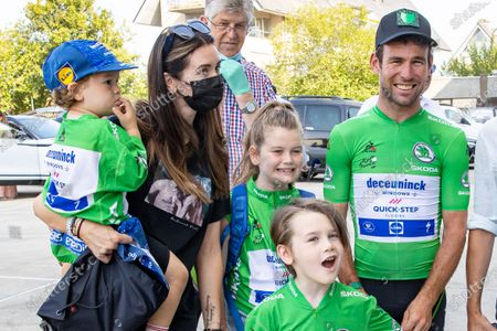 British Mark Cavendish of Deceuninck - Quick-Step, Peta Todd, wife of British Mark Cavendish of team Ettix - Quick-Step and and his children pictured during the Natourcriterium Roeselare cycling race, Tuesday 20 July 2021 in Roeselare. The contest is a part of the traditional 'criteriums', local races in which mainly cyclists who rode the Tour de France compete.