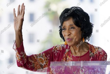 Actress Marla Gibbs waves to the crowd during a ceremony to award her a star on the Hollywood Walk of Fame, in Los Angeles