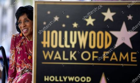 Actress Marla Gibbs looks out to the crowd during a ceremony to award her a star on the Hollywood Walk of Fame, in Los Angeles