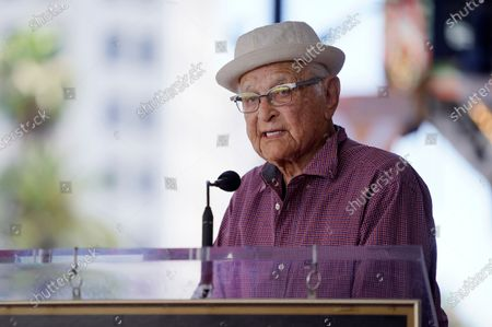 Writer/producer Norman Lear speaks at a Hollywood Walk of Fame star ceremony for actress Marla Gibbs, in Los Angeles
