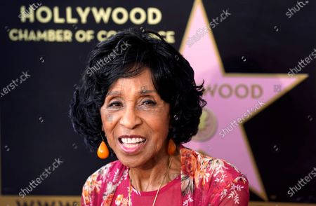 Actress Marla Gibbs poses at a Hollywood Walk of Fame ceremony for her, in Los Angeles