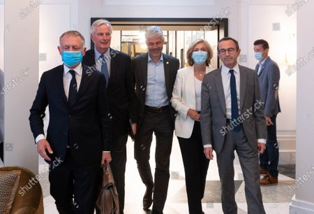 Philippe Juvin, Michel Barnier, Laurent Wauquiez, Valerie Pecresse, Bruno Retailleau and a guest. Mayor of La Garenne-Colombe and Pompidou Hospital's Chief of the Emergency Service Philippe Juvin, European Commission Chief Negotiator Michel Barnier, Auvergne-Rhone-Alpes region's president Laurent Wauquiez, Ile-de-France region's president Valerie Pecresse and President of French right-wing Les Republicains (LR) 201820/Credit:Jacques Witt/SIPA/2107 201825