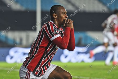 Stock Picture of Marquinhos of Brazil's Sao Paulo reacts during a Copa Libertadores round of 16 second leg soccer match against Argentina's Racing Club in Buenos Aires, Argentina