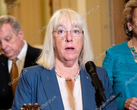 U.S. Senator Patty Murray (D-WA) speaks at a press conference of the Senate Democratic leadership.