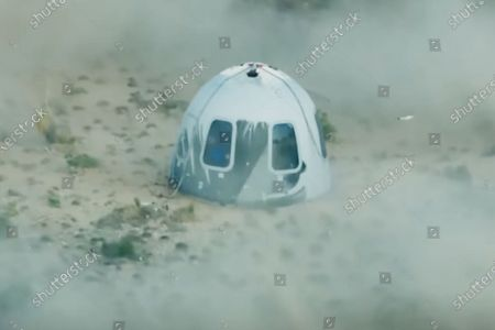 (210720) - TEXAS (U.S.), July 20, 2021 (Xinhua) - A screenshot taken from a live video released by Blue Origin on July 20, 2021 shows Blue Origin's spacecraft New Shepard capsule after landing in Texas, the United States. U.S. aerospace company Blue Origin completed its first test spaceflight with founder Jeff Bezos onboard, marking a giant leap forward for the company's commercial suborbital spaceflight tourism ambitions.