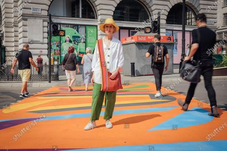 Royal Academy Artist Vanessa Jackson attends The Piccadilly Art Takeover.The Piccadilly Art Takeover was unveiled today in London - a large-scale public art commission of the iconic area in the capital, with artists associated with the Royal Academy of Arts designing flags, pedestrian crossings and filmed pieces for the 780 sqm Piccadilly Lights. The takeover marks the beginning of a season of free, accessible public art in the area.