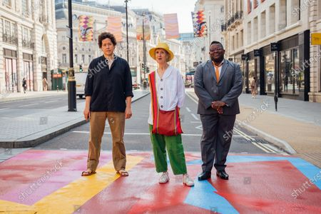 Royal Academy Artists Michael Armitage, Vanessa Jackson, Isaac Julien CBE attend The Piccadilly Art Takeover.The Piccadilly Art Takeover was unveiled today in London - a large-scale public art commission of the iconic area in the capital, with artists associated with the Royal Academy of Arts designing flags, pedestrian crossings and filmed pieces for the 780 sqm Piccadilly Lights. The takeover marks the beginning of a season of free, accessible public art in the area.