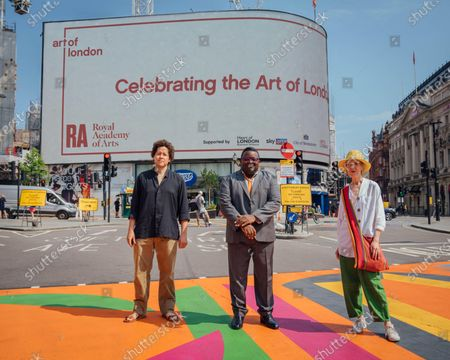 Royal Academy Artists Michael Armitage, Isaac Julien CBE and  Vanessa Jackson attend The Piccadilly Art Takeover.The Piccadilly Art Takeover was unveiled today in London - a large-scale public art commission of the iconic area in the capital, with artists associated with the Royal Academy of Arts designing flags, pedestrian crossings and filmed pieces for the 780 sqm Piccadilly Lights. The takeover marks the beginning of a season of free, accessible public art in the area.