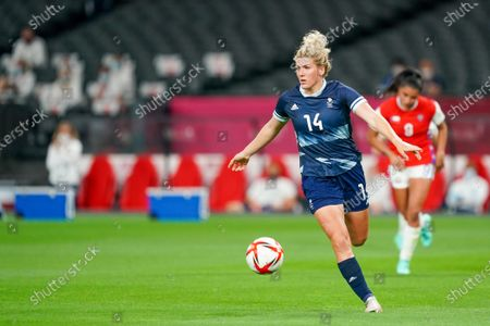 Millie Bright (14 GBR) controls the ball (action) during the Women's Olympic Football Tournament Tokyo 2020 match between Great Britain and Chile at Sapporo Dome in Sapporo, Japan.