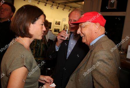 Niki Lauda with wife Birgit Wetzinger and Helmut Marko