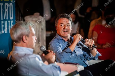 """Italian senator and leader of Italia Viva party Matteo Renzi interviewed by the journalist Enrico Mentana during the presentation of his book """"Contro Corrente"""""""