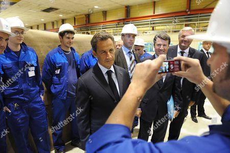 French President Nicolas Sarkozy, Industry Minister Christian Estrosi and Francois Sauvadet