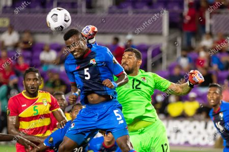Jose Calderon (12 Panama) punches the ball away from a corner kick during the CONCACAF Gold Cup game between Panama and Grenada at Exploria Stadium in Orlando, Florida.