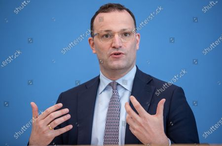 Stock Picture of Jens Spahn, Federal Minister of Health, at the Presentation of the National Reserve Health Protection in the Federal Press Conference on July 21, 2021 in Berlin.