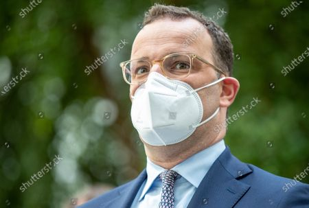 Stock Image of Jens Spahn, Federal Minister of Health, on the way to the presentation of the National Reserve Health Protection in the Federal Press Conference on July 21, 2021 in Berlin.