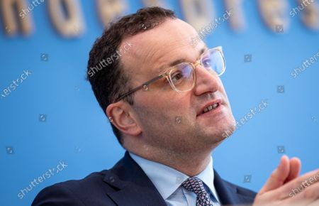 Stock Photo of Jens Spahn, Federal Minister of Health, at the Presentation of the National Reserve Health Protection in the Federal Press Conference on July 21, 2021 in Berlin.
