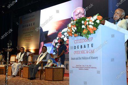 RSS Chief Mohan Bhagwat addresses the launching ceremony of Nani Gopal Mahanta's book on NRC & CAA debate, in Guwahati ,India on July 21,2021.