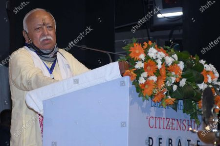 Stock Picture of RSS Chief Mohan Bhagwat addresses the launching ceremony of Nani Gopal Mahanta's book on NRC & CAA debate, in Guwahati ,India on July 21,2021.