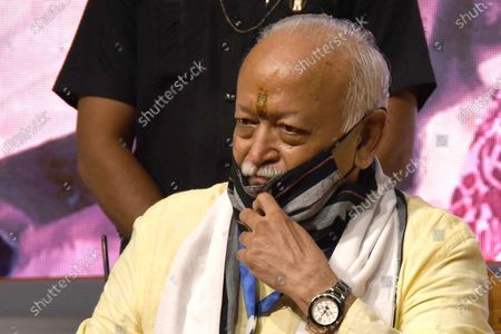 RSS Chief Mohan Bhagwat  during the launching ceremony of Nani Gopal Mahanta's book on NRC & CAA debate, in Guwahati, India on July 21, 2021.