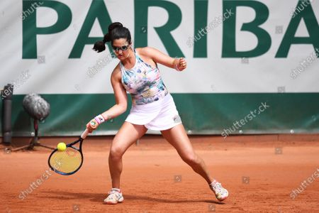 Jamie Loeb of USA in action during the first round match against Maryna Zanevska of Belgium at the WTA BNP Paribas Poland Open tennis tournament in Gdynia, northern Poland, 21 July 2021.