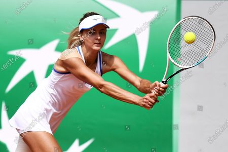 Maryna Zanevska of Belgium in action during the first round match against Jamie Loeb of USA at the WTA BNP Paribas Poland Open tennis tournament in Gdynia, northern Poland, 21 July 2021.