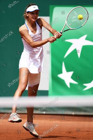 Stock Image of Maryna Zanevska of Belgium in action during the first round match against Jamie Loeb of USA at the WTA BNP Paribas Poland Open tennis tournament in Gdynia, northern Poland, 21 July 2021.