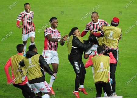 Marquinhos of São Paulo, celebrates his goal during the match between Racing and São Paulo, for the Libertadores 2021 Round of 16, at Estádio Presidente Perón; Buenos Aires, Argentina.