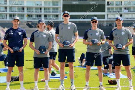 Stock Photo of Hampshire's List A debutants (from left to right) John Turner, Tom Prest, Scott Currie, Nick Gubbins and Tom Scriven during the Royal London One Day Cup match between Hampshire and Essex Eagles at The Ageas Bowl, Southampton