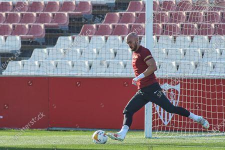 Marko Dmitrovic  in action during the training session of Sevilla Futbol Club at Jose Ramon Cisneros Palacios Sport City on July 21, 2021 in Sevilla, Spain.